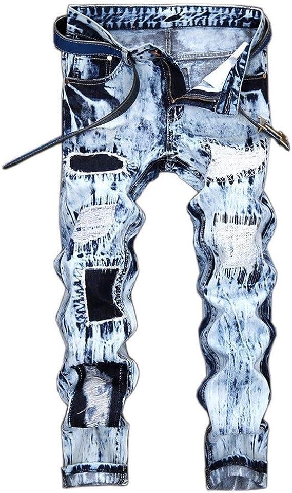 メンズジップワイドパンツ 明るい色のジーンズストレートジーンズ男性の呪文カラーアップリケ穴 エフェクトライトウォッシュ (Color : Light Blue, Size : 36)