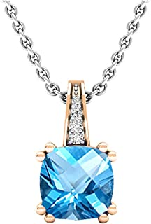 18K Rose Gold 7 MM Round Gemstone & White Diamond Ladies Drop Pendant (Silver Chain Included)