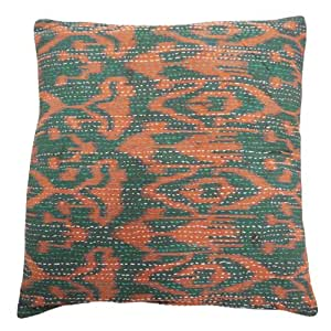 Amortiguador verde 43x43cm decorativo almohada cubierta tradicional Kantha Cotton caso del arte del regalo de la India 17 pulgadas