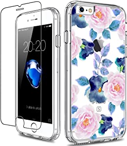GiiKa iPhone 6 6s Case with Screen Protector, Clear Heavy Duty Protective Case Floral Girls Women Shockproof Hard PC Back Case with Slim TPU Bumper Cover Phone Case for iPhone 6s, Pink Blue Flowers