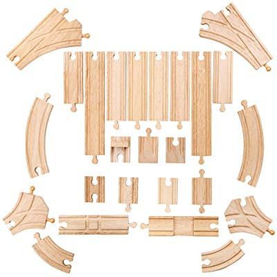 Bigjigs Rail Low Level Track Expansion - 25 Piece Set - Other Major Wooden Rail Brands are Compatible: Toys & Games