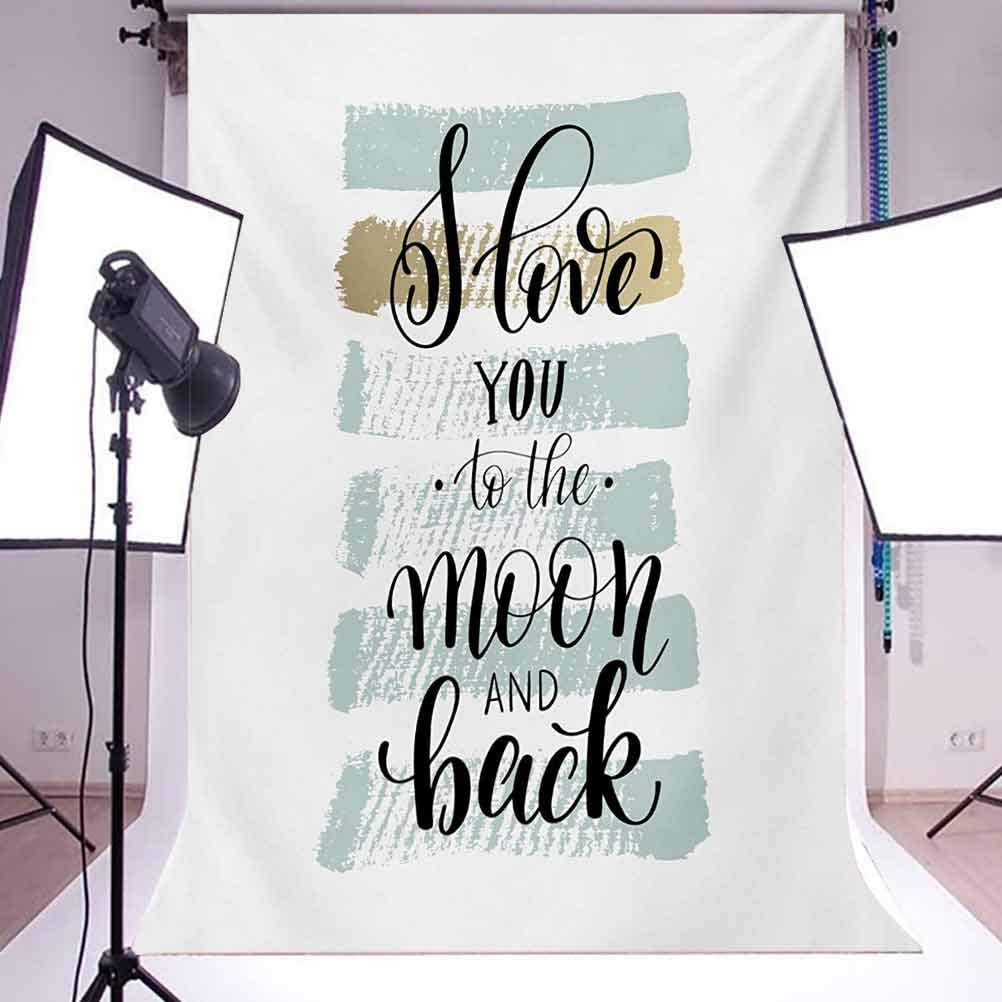 I Love You 6.5x10 FT Backdrop Photographers,I Love You to The Moon and Back Valentines Phrase with Stripes Background for Baby Shower Birthday Wedding Bridal Shower Party Decoration Photo Studio
