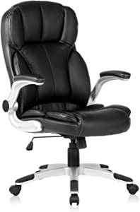 YAMASORO Ergonomic Executive Office Chair High Back Leather Computer Chair Big Tall Black Office Desk Chair with arms and Wheels Swivel