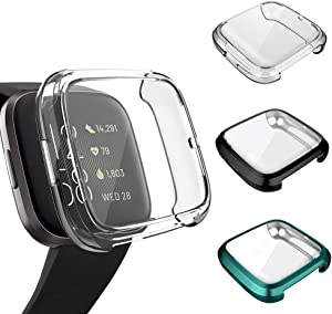 3 Pack Screen Protector Compatible Fitbit Versa 2 Case, GHIJKL Ultra-Thin Slim Soft TPU Protective Case All-Around Full Cover Bumper Shell for Fitbit Versa 2 Smartwatch, Clear, Black, Green