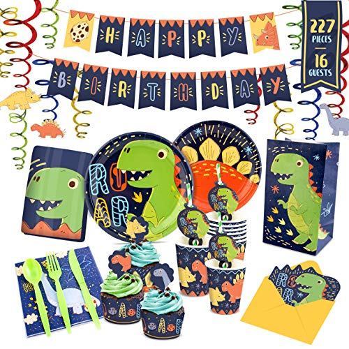 Dinosaur Birthday Parties - Dinosaur Party Supplies - Dinosaur Birthday Party Supplies including Napkins | Utensils | Plates | Invitations | Cake Wrappers & Toppers | Cups | Table Cloth | Birthday Banner | Serves 16