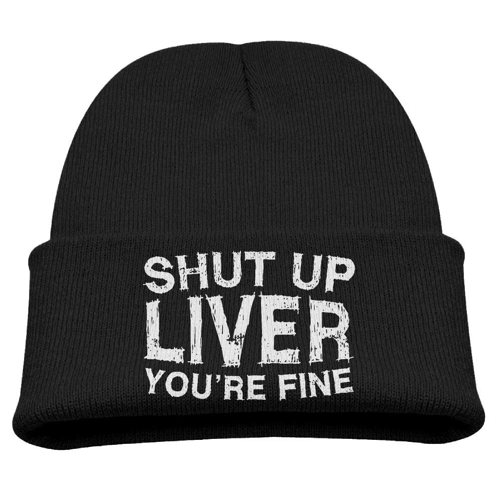 Td45JS&EW Boys and Girls Soft Knitted Hat Shut Up Liver You're Fine Skull Cap