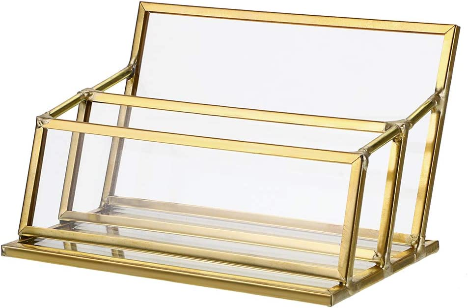 Hipiwe 2 Slots Glass Business Card Holder Stand - Gold Metal Frame Name Card Display Stand Business Name Card Organizer for Office Tabletop,Fits 80-100 Business Cards