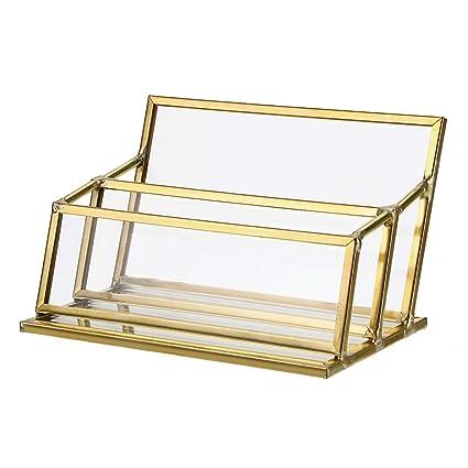 Hipiwe Visitenkartenhalter Aus Glas Vintage Gold Metall