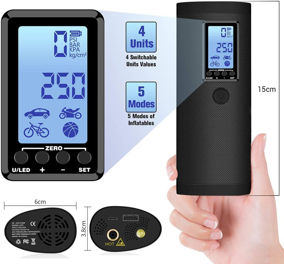 zuoshini Tyre Inflator Electric Pump Digital Tyre Inflator Portable Digital Air Pump Electric Compressor Car Tyre Pump with LCD Display for Car Bike Motorcycle Balls