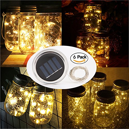 6 Pack Solar Jar Lids for Mason Jars with 10 LED Fairy String Lights(Jars & Handles Not Included), Fit for Patio, Yard, Garden, Party, Wedding, Christmas Decor (6, Warm White-10LED)