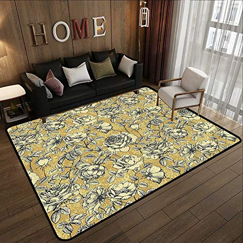 Rugs,Floral,Vintage Hand Drawn Sketchy Roses with Leaves on Abstract Backdrop Print,Black White and Khaki 63