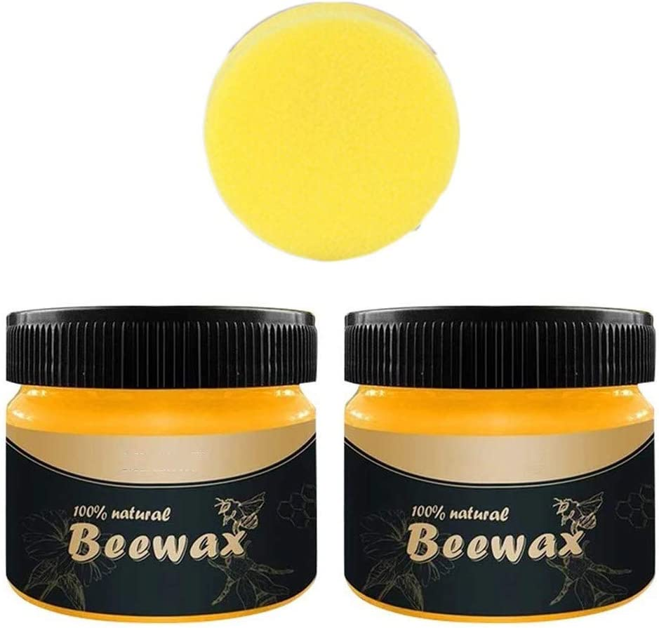 Wood Seasoning Wax Tin - Natural Wood Seasoning Beeswax Complete Solution Furniture Care Beeswax Home Cleaning Cleaner and Protector Wax for Cutting Board, Bowl and Houseware (D)