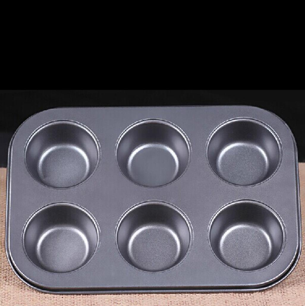 OHQ 6 tazas de Pastel negro Mini Muffin Bun Cupcake de horno ...