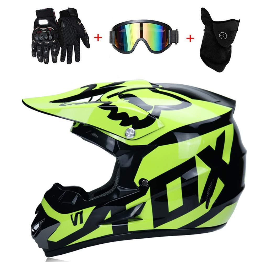 S, M, L, XL O NOMEN Erwachsener Motocross-Helm MX-Motorradhelm-Roller MTB-Helm Stra/ßenrennen D Schwarz Gr/ün T Zertifizierter Fox mit Handschuhmaske Winddichte Brille