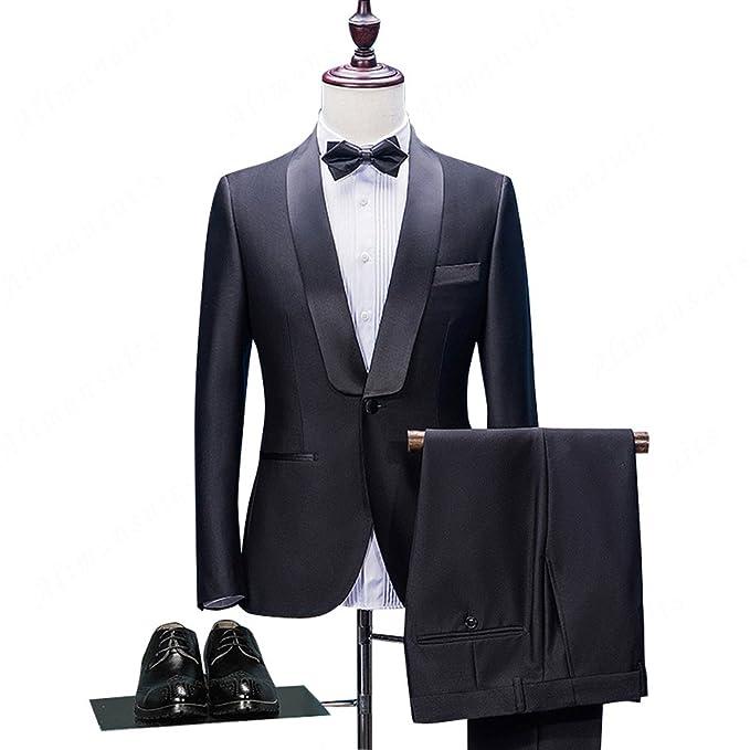 Amazon.com: 2018 Negro Novio tuxedos Slim Fit Tailored Suit ...