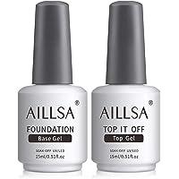 AILLSA Base Coat Tase Coat UV Gel Set Geen Wipe glanzende Top Coat en Base Coat Gel voor UV nagellak Polygel