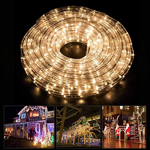 Led Rope Light - 30ft 225LEDs Warm White Landscape Lighting - 4 Modes Fairy Lights - Indoor/Outdoor Lighting with Remote Control - Christmas Decoration Rope Light for Holiday, Party