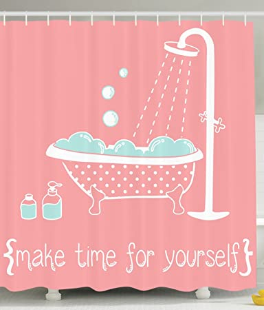 Amazoncom Ambesonne Coral Shower Curtain Quotes Decor By Clawfoot