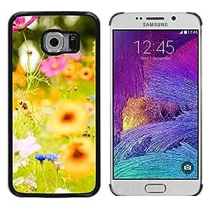 LECELL--Funda protectora / Cubierta / Piel For Samsung Galaxy S6 EDGE SM-G925 -- Flowers Yellow Green Summer Sun Happy --