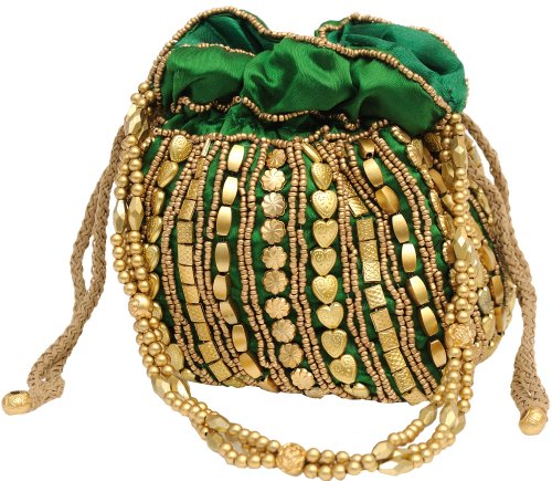 (Exotic India Potli Drawstring Bag with Dense Beadwork b - Color Green)