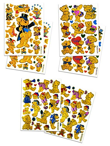 BEAR002 - 6 Sheets Teddy Bear Decorative Scrapbook, Animal Reflective Stickers for Kids - Size 4 X 5.25 Inch./sheet
