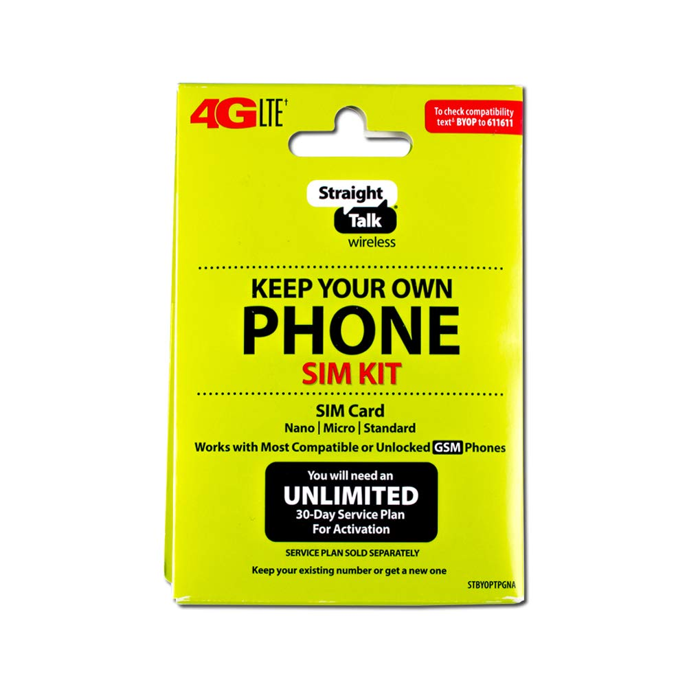 Straight Talk 4G LTE ''Keep Your Own Phone SIM Kit'' SIM Card (AT&T and GSM-Compatible) by Group Vertical