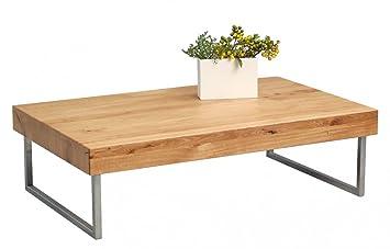 Dreams4Home Couchtisch Pluto Massiv Holz Wildeiche Eiche 120x75 Cm Tisch Beistelltisch Sofatisch Ablgeflche Wohnzimmertisch