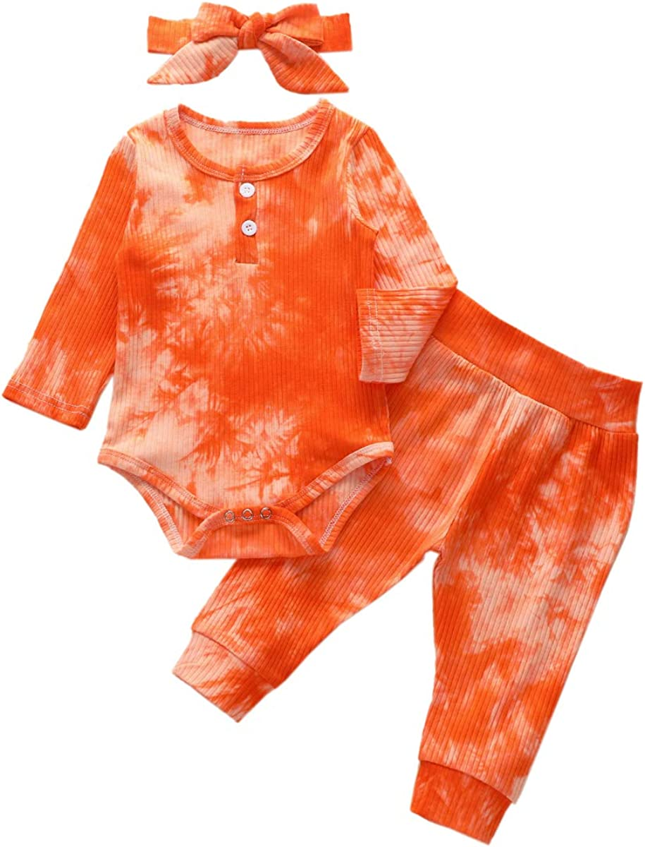Newborn Toddler Baby Girl Tie Dye Fall Winter Outfit Long Sleeve Romper Top Pants Headband Clothes Set