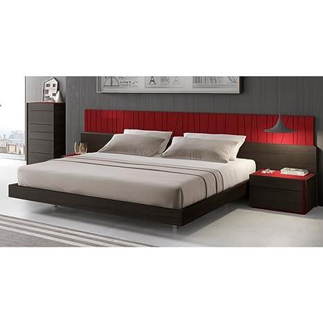 Amazon.com: J & M muebles cama de plataforma de lagos, Rojo ...