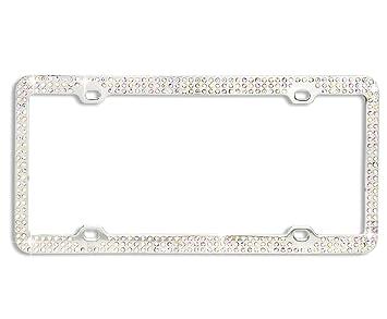 Cristal de Diamante Triple fila plata Metal coche placa de licencia con marco Carcasa para tapas y tornillos: Amazon.es: Coche y moto