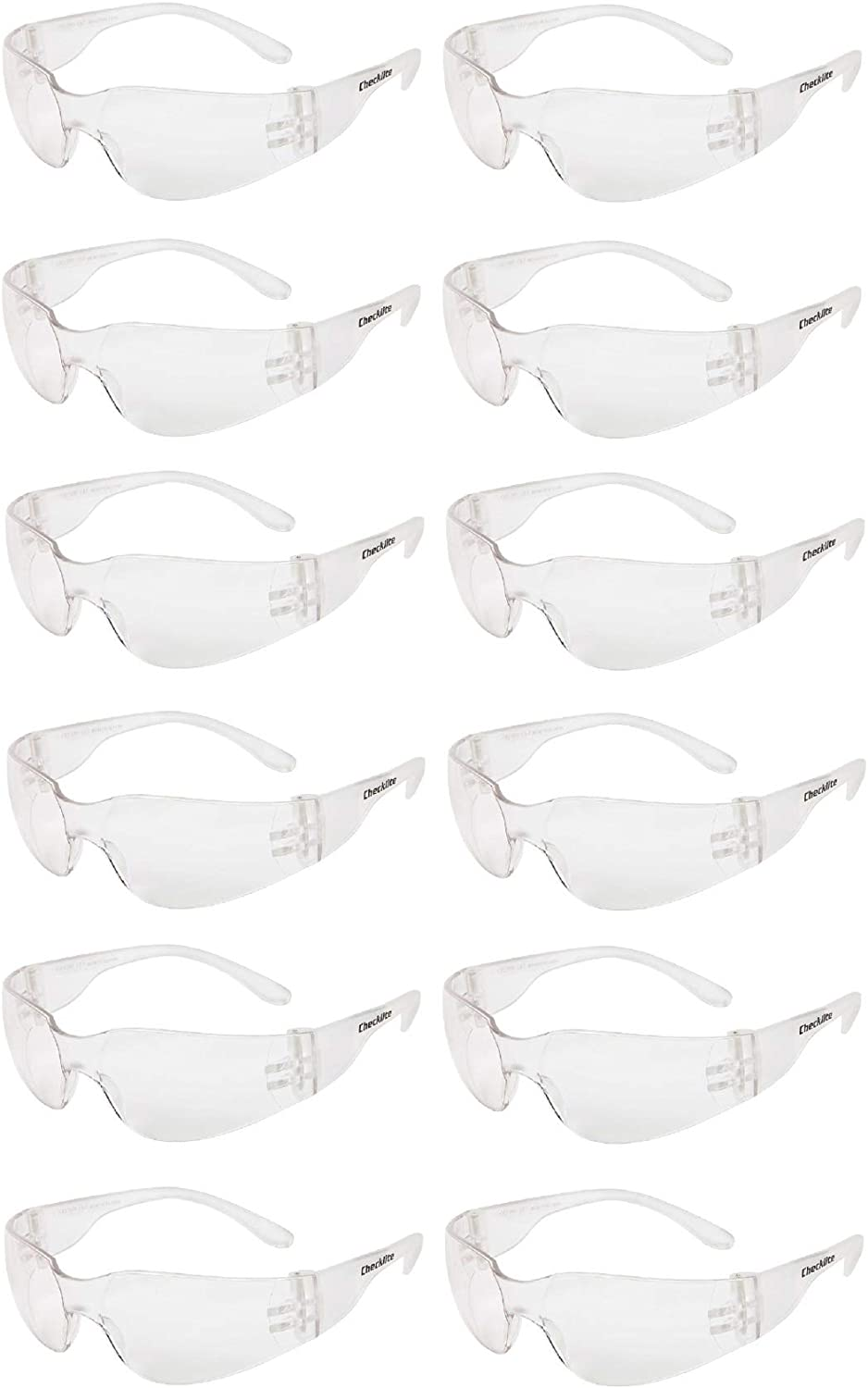 Clear Lens Protective Safety Glasses ANSI Z87+ Compliant Pack of 12 Polycarbonate Impact Resistant Lens