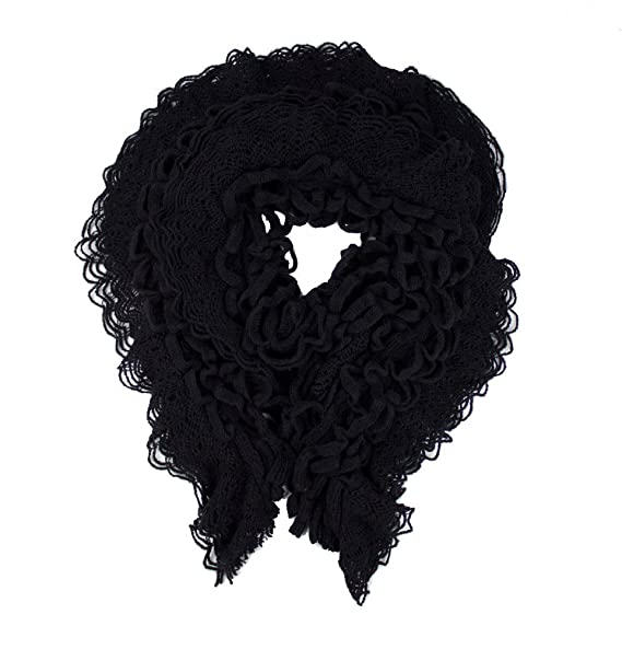 c3392848d03 Mo Anna Women Soft Solid Ruffle Scarf (One-Size, Black) at Amazon ...