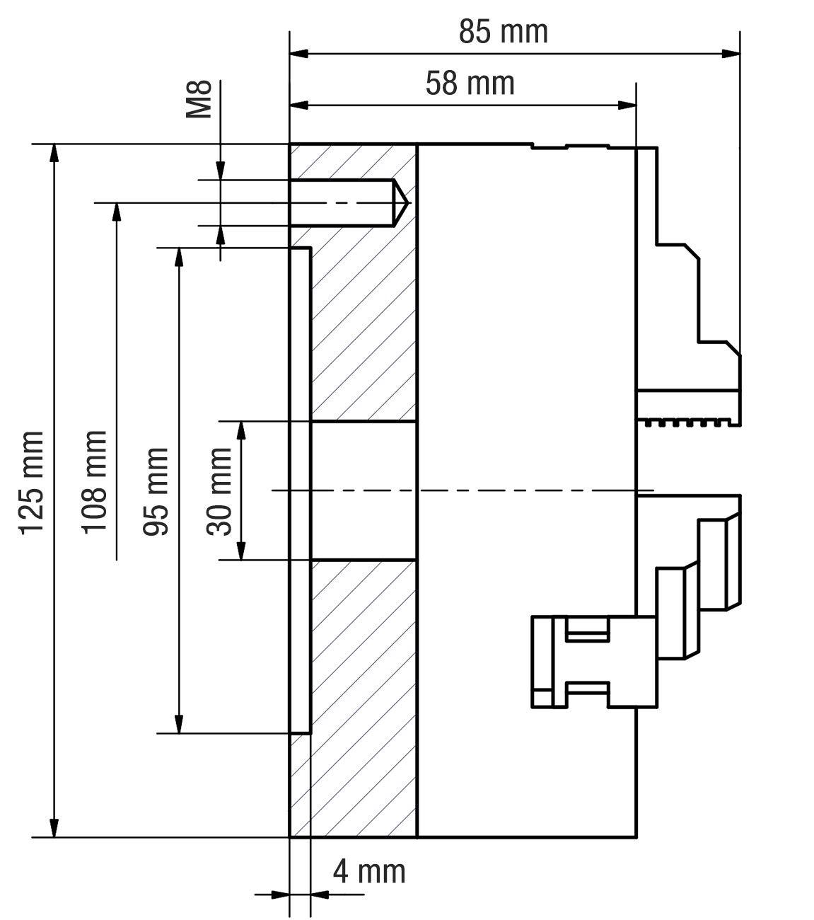 WABECO 4 Backenfutter /Ø 160 mm Dreibackenfutter Drehbankfutter