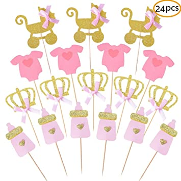 Pink and Gold Girl Baby Shower Cupcake Toppers Picks c4c5e77db67e
