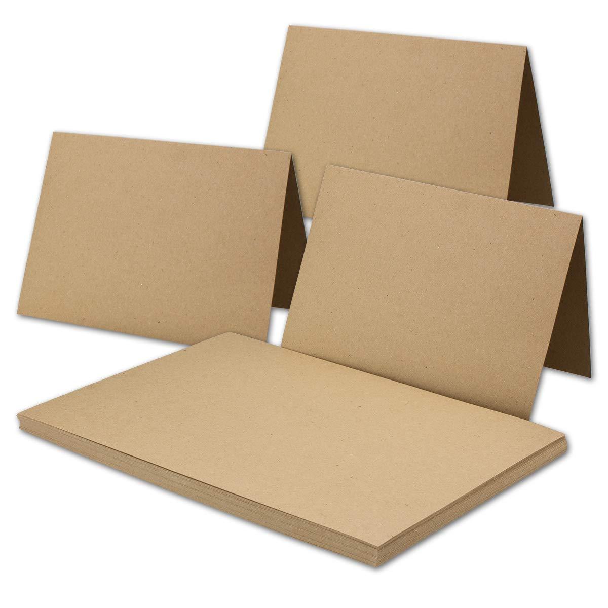 150x Vintage Kraftpapier Falt-Karten DIN A5-148 x 210 mm - sandbraun - Recycling - 240 g m² blanko Klapp-Karten I UmWelt by Gustav NEUSER® B06VY9MW4L | Erste in seiner Klasse