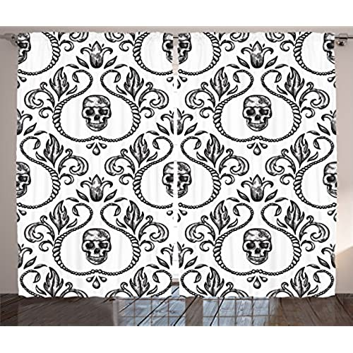 Ambesonne Gothic Decor Collection, Ornament With Skull Goth Skeleton Floral  Design In Baroque Style Illustration Design, Living Room Bedroom Curtain 2  ...