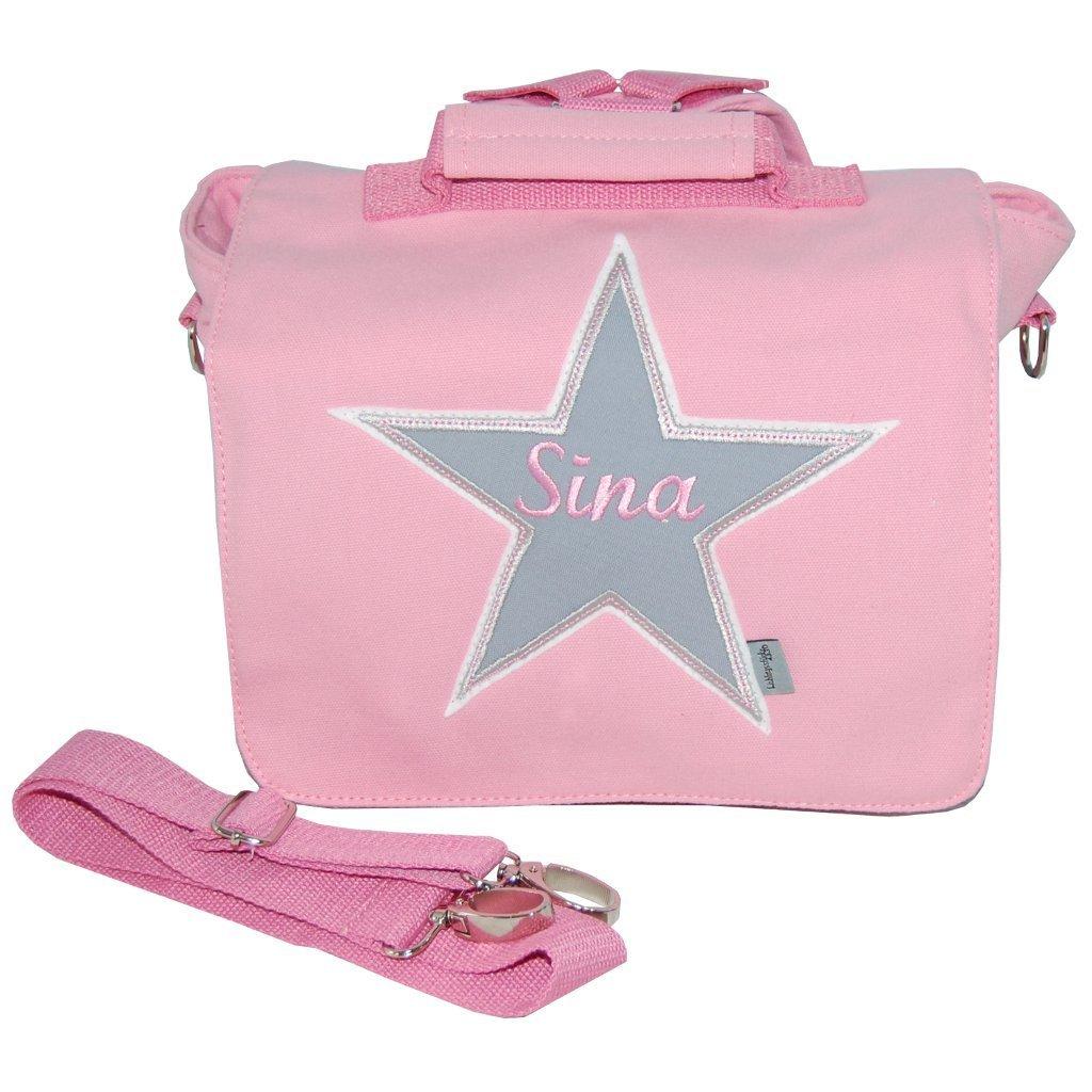 Rucksack / Kindergartentasche mit Namen in rosa mit Stern Wandelbar in einen Rucksack