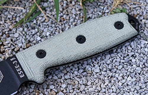 ESEE Knives ESEE-3MIL-P Military Plain Black Edge / w Green Canvas Micarta Handles by ESEE Knives (Image #4)