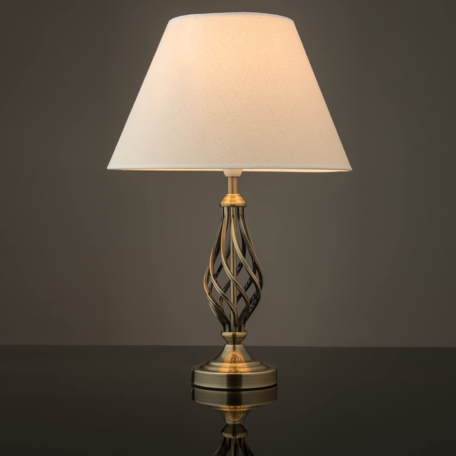 Kingswood Barley Twist Traditional Table Lamp - Antique Brass ...