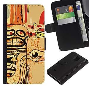 LASTONE PHONE CASE / Lujo Billetera de Cuero Caso del tirón Titular de la tarjeta Flip Carcasa Funda para Samsung Galaxy S5 Mini, SM-G800, NOT S5 REGULAR! / Abstract Goth Skull Art