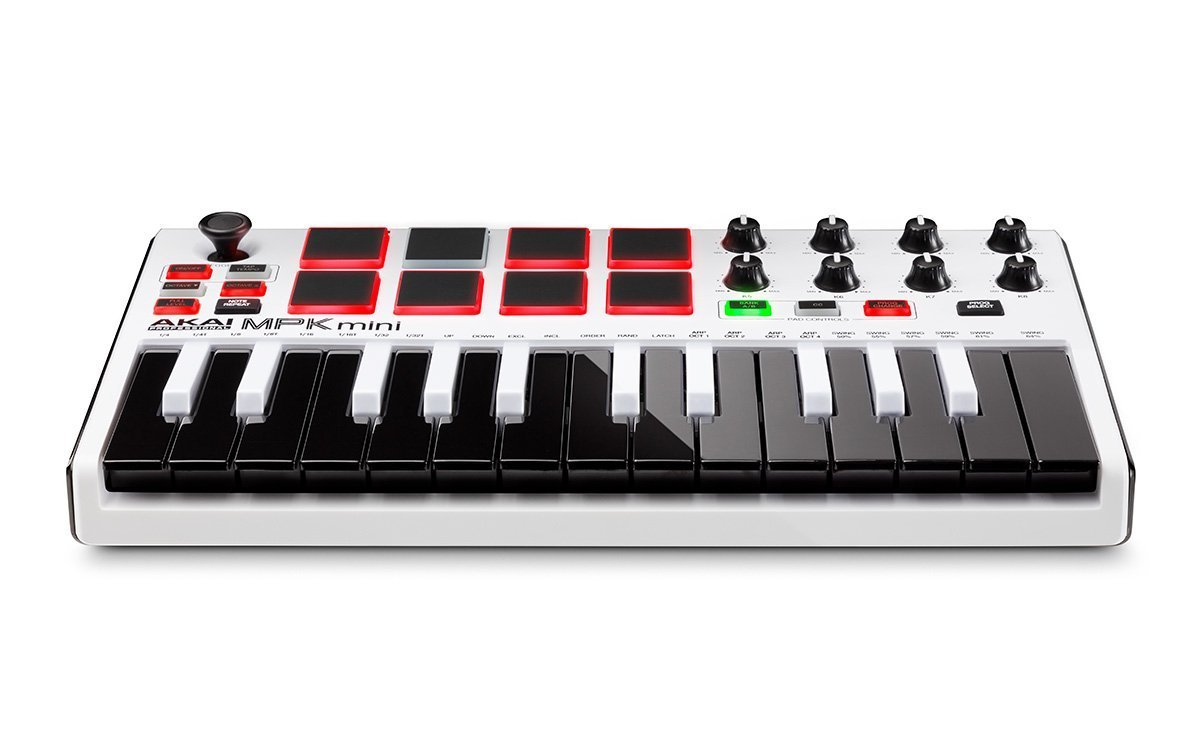 Akai Professional MPK MINI MK2 MKII | 25-Key Ultra-Portable USB MIDI Drum Pad & Keyboard Controller (White)+ 4-Port USB 2.0 Hub + High Speed USB Extension Cable + Clean Cloth by Akai (Image #7)