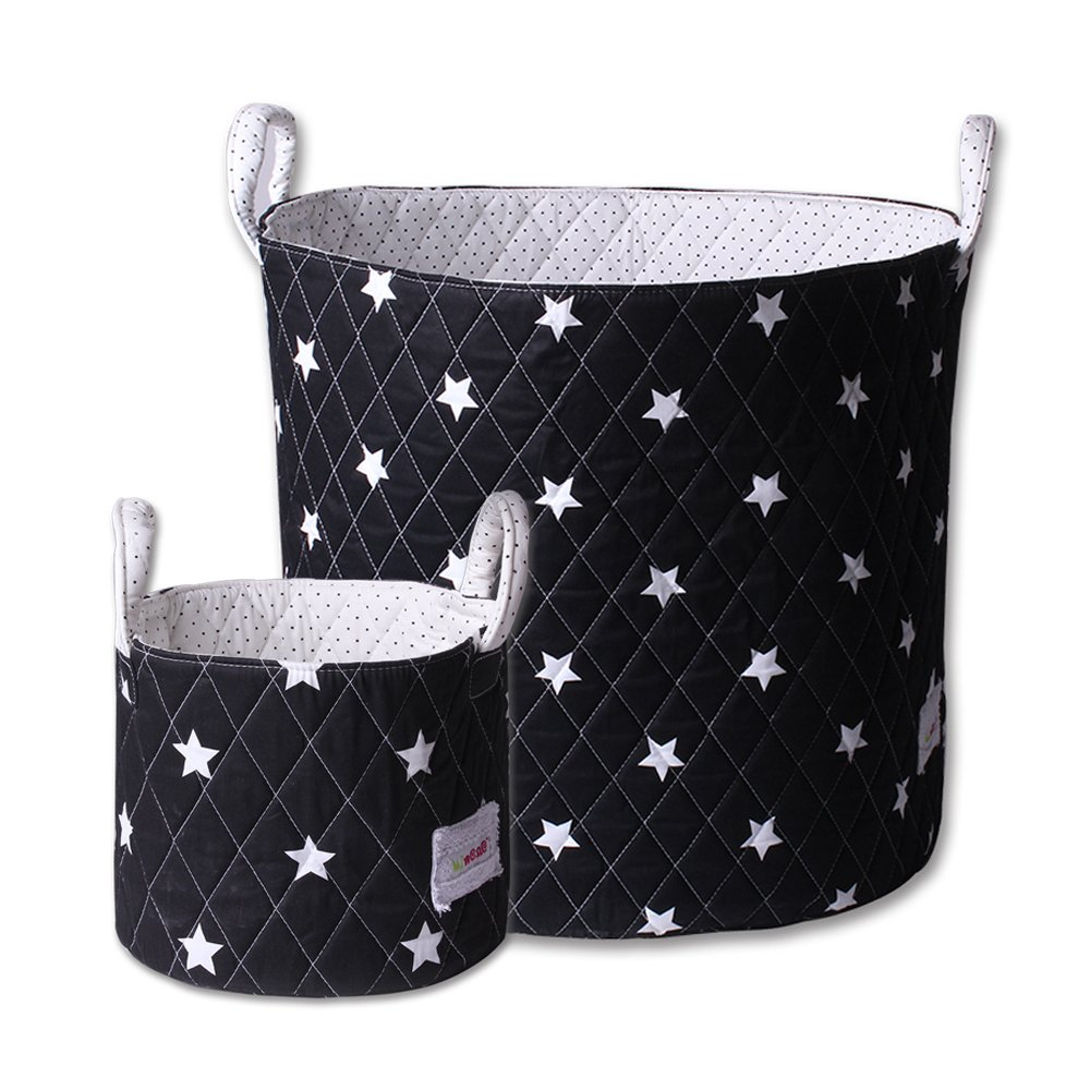 Minene Large & Small tessuto cestino portatutto, organiser, nursery, bambini, Star Storage Black & White Stars 211241