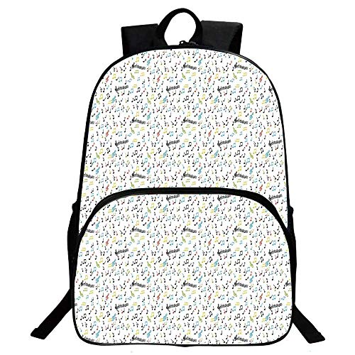 Music Beautiful School Backpack,Symbolic Music Notes Joy Artistic Vibes Pitch Beat Rhythm Sound Sonic Timbre Design For classroom,11.8