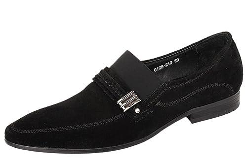 Liveinu Men s Suede Leather Handmade Slip-On Dress Loafer Shoes Black 39 4b7e8050b12