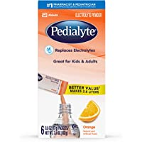Pedialyte Electrolyte Powder, Orange, Electrolyte Hydration Drink, 0.6 oz Powder Packs, 100 Count