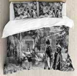 Vintage Duvet Cover Set King Size by Ambesonne, Historical French Revolution Sketch with Napoleon and Woman in Garden Artwork, Decorative 3 Piece Bedding Set with 2 Pillow Shams, Dark Grey Black