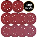 100PCS Sanding Disc Pads, 125mm /5 inch 8-Holes 40/60/80/100/120/180/240/320/400/800 Grit Hook and Loop Sandpaper for Random Orbital Sander