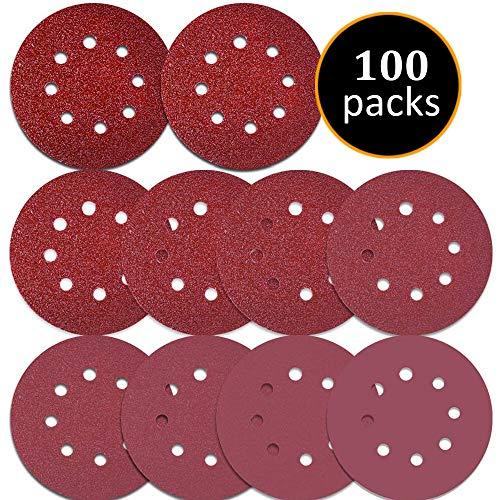 Cheap 100PCS Sanding Disc Pads, 125mm /5 inch 8-Holes 40/60/80/100/120/180/240/320/400/800 Grit Hook and Loop Sandpaper for Random Orbital Sander