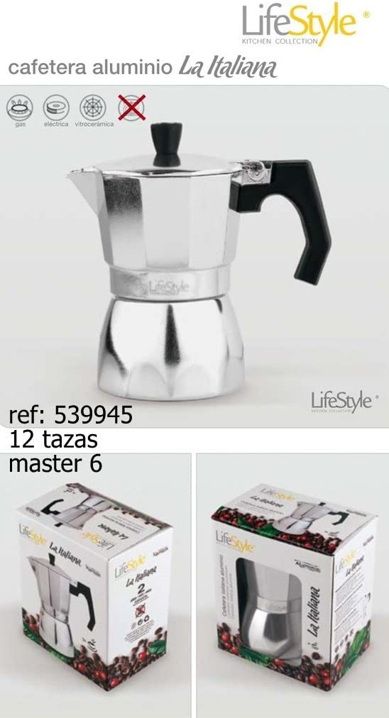 Lifestyle-Cafetera italiana aluminio 12 tazas: Amazon.es: Hogar