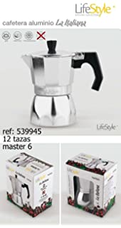 Life Style - Cafetera Express Buon Caffe - Estilo Italiano - 6 Tazas - Aluminio Grafito: Amazon.es: Hogar